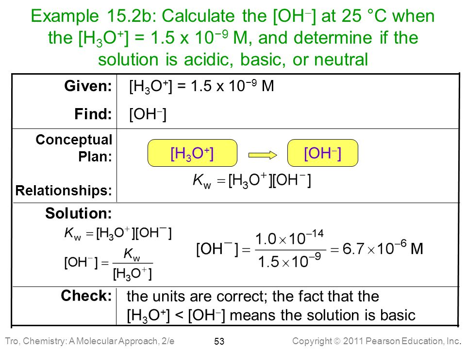 Example 15. 2b: Calculate the [OH] at 25 °C when the [H3O+] = 1